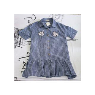 [BNWT INSTOCK] BLUE AND WHITE PINSTRIPE DRESS WITH FRESH CREAM CARTON EMBROIDERY