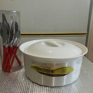 White Casserole Dish Oven & Microwave Safe/Stainless Steel Spoon, Fork & Knife