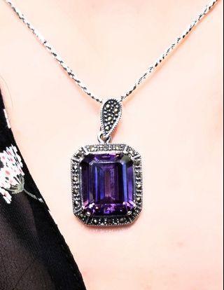 紫晶吊墜,925銀鑲嵌