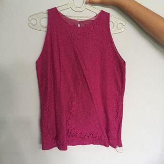 Atasan Top Sleeveless Pink Fuschia Lace