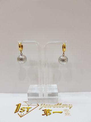 916 YELLOW GOLD & WHITE GOLD EARRING