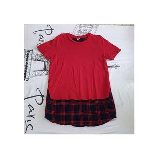 [INSTOCK] BOSSINI RED TOP WITH RED AND BLUE PLAID DETAIL