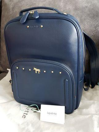 New: Lapalette Leather Backpack - Navy Blue