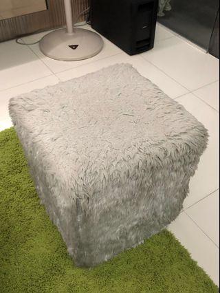 Furry stool ottoman