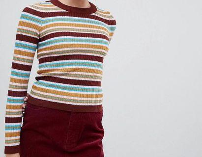 🚚 70s Striped Long Sleeve Top Fine Knit