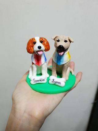 Customise dog figurines made of polymer clay