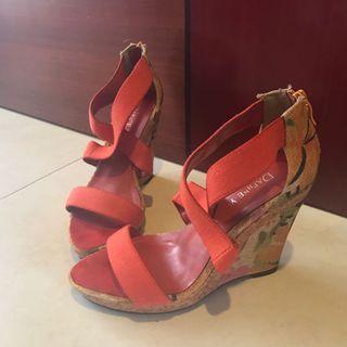 🚚 Wedge Heels Floral Orange