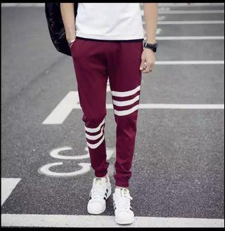 🚚 Red jogger pants with white stripes