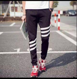 🚚 Black Jogger Pants with white stripes
