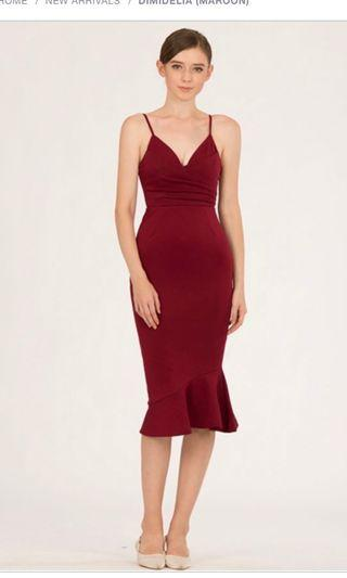 🚚 DIMIDELIA midi dress in maroon