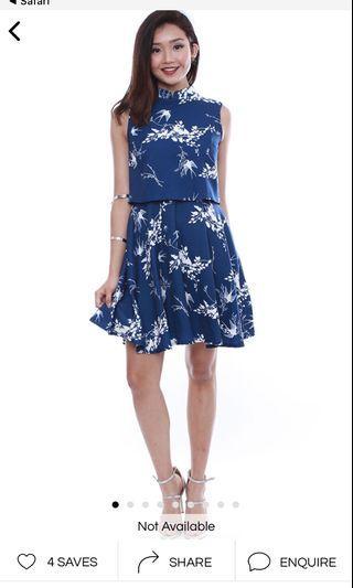 FAIREBELLE Blooming Florals Cheongsam Dress Set in Blue