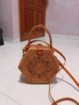 Hexagon Rattan Bag