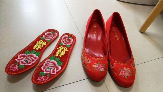 中式褂鞋 結婚 出門褂鞋(連褂鞋夾)