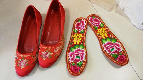 中式出門褂鞋 平底褂鞋 連 上頭拖鞋