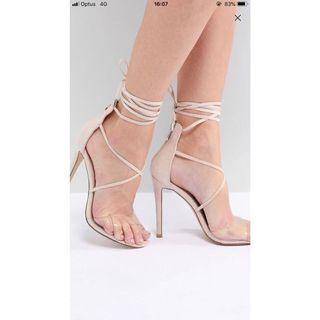 Nude Perspex lace up heels