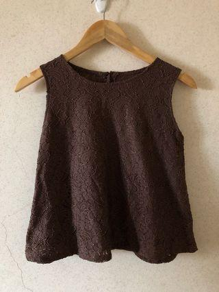 Brown Floral Sleeveless Top
