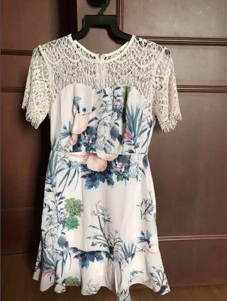 Lace Top Floral Dress
