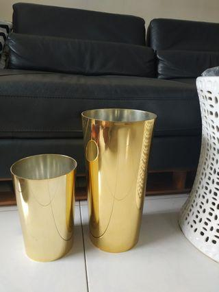 🚚 Designer GOLD Vase Set of 2 (b&b taylor B CB2 crate)