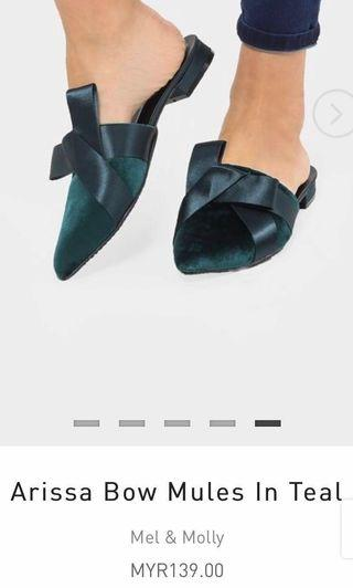 REDUCED PRICE Slip On Mel & Molly Fashionvalet Arissa Bow Mules in Teal