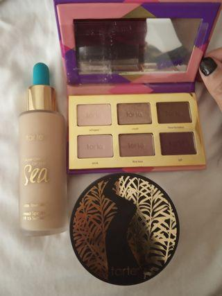 All for $39 Tarte rainforest of the sea water foundation + tarte tease eyeshadow palette + tarte smooth operator amazonian finishing powder