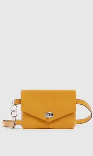 Mustard Yellow Belt Bag With Chain