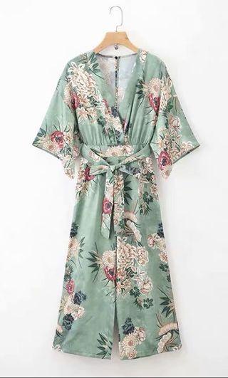 Floral Sleeved Jumpsuit