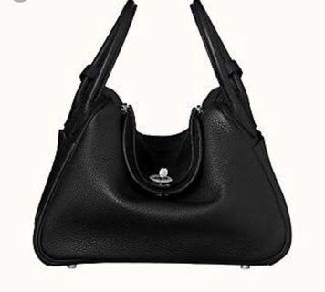 Hermes Lindy style black leather shoulder tote bag
