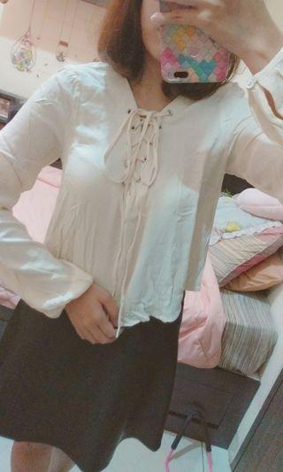 Cream Cross Top by FOREVER21