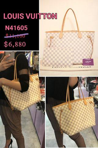 ed377f856ee1 LOUIS VUITTON LV N41605 Damier Azur Neverfull MM 米白色格仔帆布手袋Canvas Shoulder