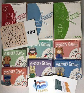Bundle sale! 3 sets of Shichida 100 pieces for cards and 5 sets of Memory Genius (set A-F)
