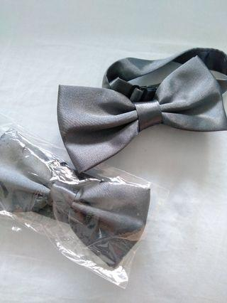 Grey silver clip-on bow tie