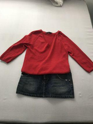 Agnes B 牛仔裙加紅色中裙線上衣Jean skirts and red sweater