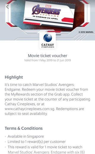 🚚 Avengers Movie Ticket (can book on weekends as well)