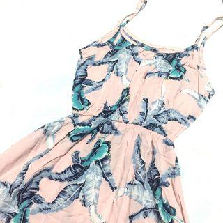Pink Feather Print Summer Dress
