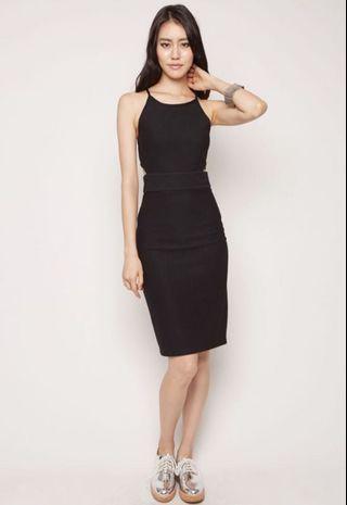 MDS mikaella ribbed halter dress in black