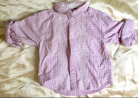 Lavender checker embroidery baby shirt