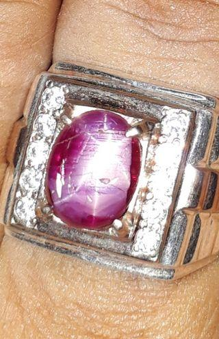 100 Percent natural burma star ruby with hand made silver n sausa ring