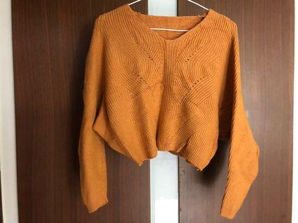 🚚 橘色短板V領毛衣