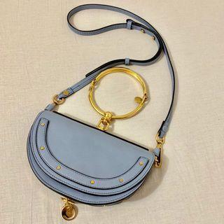 Chloé Nile Minaudiere Shoulder Bag Washed Blue