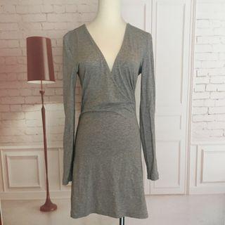 近新❤️S號英國TOBI淺灰彈性包臀休閒棉洋裝
