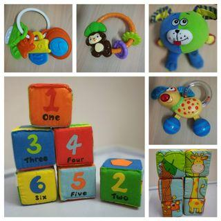 Simple Dimple Fun Learning Fabric Blocks + Rattles for Babies and Toddler