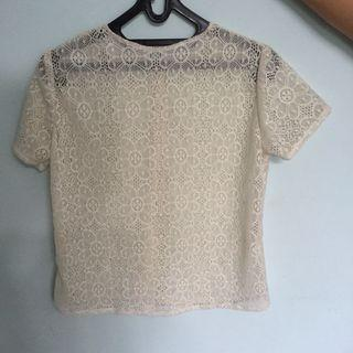 White lace top atasan brokat putih