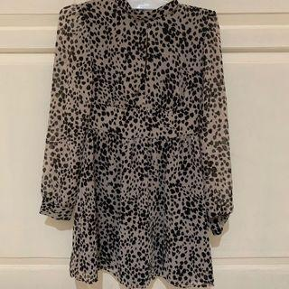 Dress leopard black and white