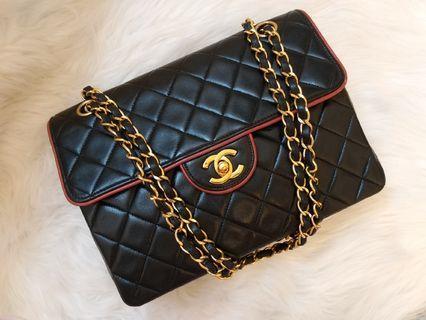 現貨Vintage Chanel黑色羊皮菱格紅邊金扣classic flap bag