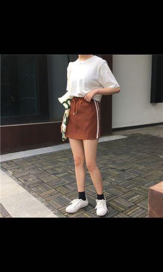 [INSTOCK]🤩brown/brick red drawstring skirt!