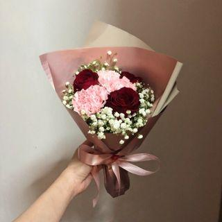 Fresh Flowers Bouquet - Esther (Roses, Carnations, Baby Breath) | Valentine's Day Bouquet | Mother's Bouquet | Graduation Bouquet | Birthday Bouquet