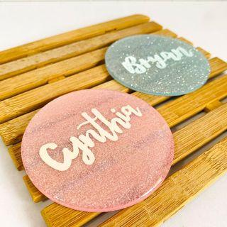 Customisable coasters resin personalised office bulk personalise coaster customise colleague farewell colleagues cheap graduation gift gifts present birthday Friend friends presents Mother's Day mother corporate couple wedding housewarming calligraphy
