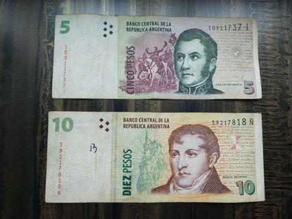 Old Argentina 5 Peso and 10 Peso Paper Banknotes Rare