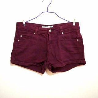 cotton on denim shorts in burgundy