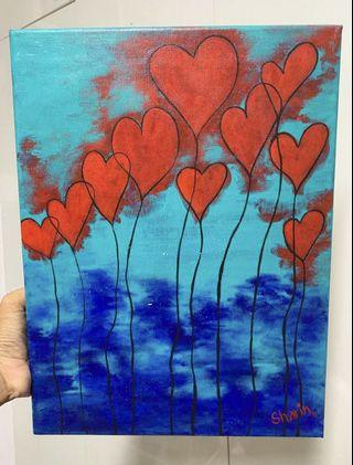 🚚 Heart canvas painting